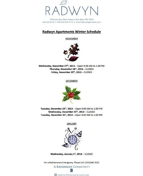 Radwyn Apartments Winter Schedule