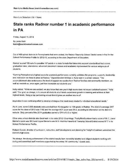State Ranks Radnor Number 1 in Academic Performance in PA