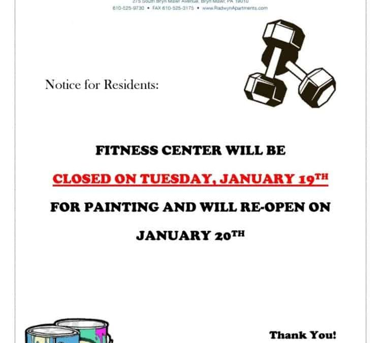 Fitness Center Closing for One Day