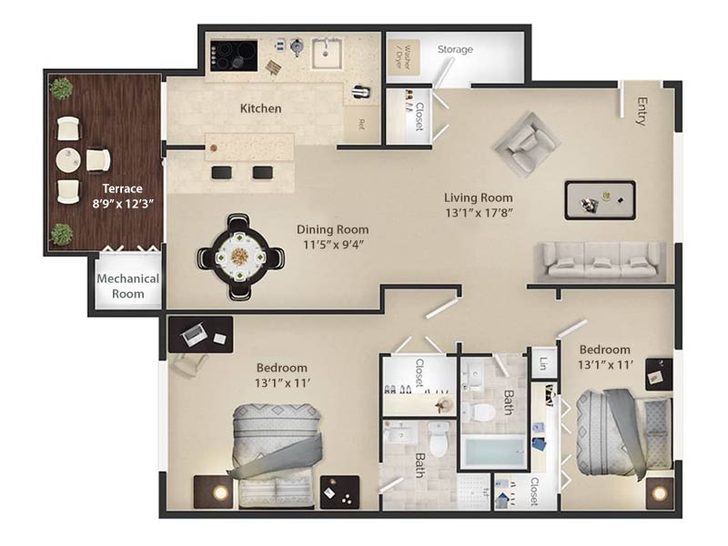 Radwyn Apartments 2 Bedroom/2 Bath Floor Plan Devon I - 1,200 square feet