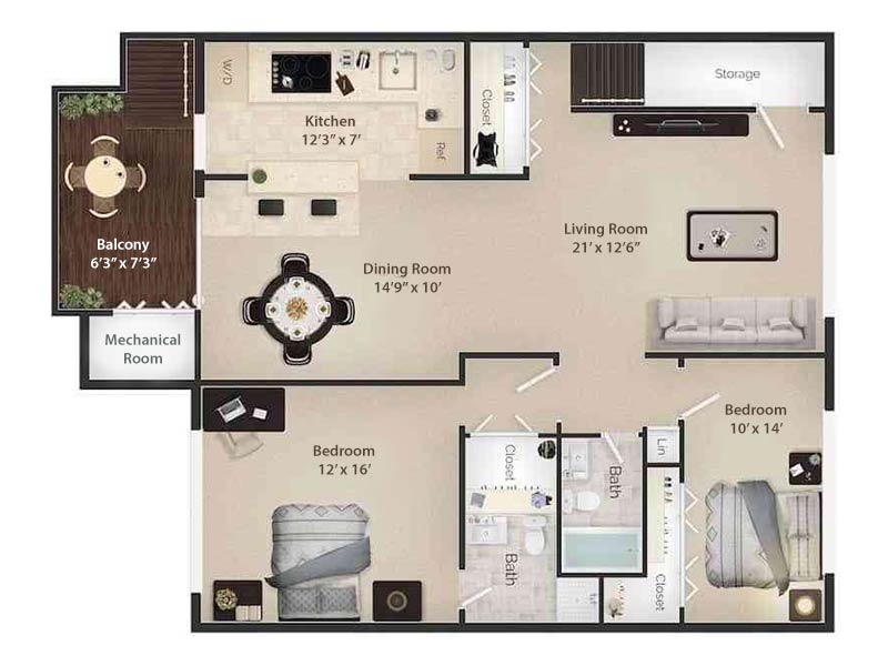 Radwyn Apartments 2 Bedroom/2 Bath Floor Plan Devon II - 1,200 square feet