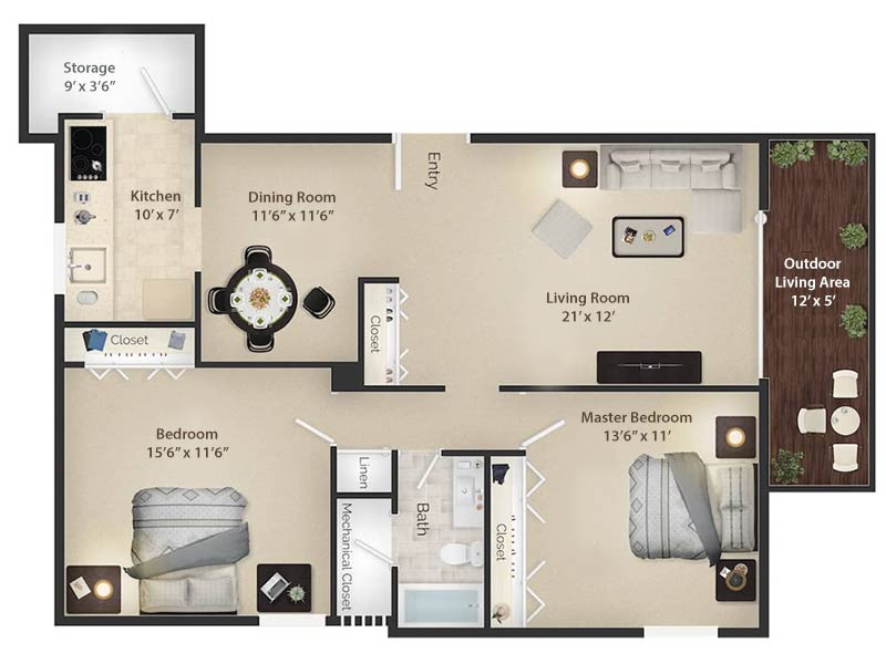 Radwyn Apartments 2 Bedroom/1 Bath Floor Plan Paoli I - 1,050 square feet