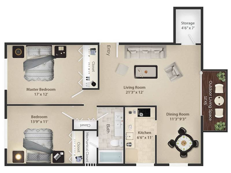 Radwyn Apartments 2 Bedroom/1 Bath Floor Plan Paoli II - 1,050 square feet
