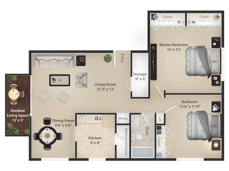 Radwyn Apartments 2 Bedroom/1 Bath Floor Plan Paoli III - 1,050 square feet