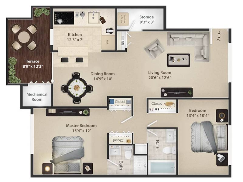 Radwyn Apartments 2 Bedroom/2 Bath Floor Plan Radnor I - 1,200 square feet