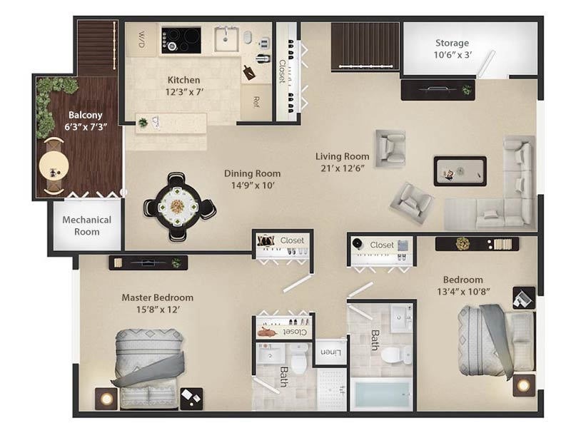 Radwyn Apartments 2 Bedroom/2 Bath Floor Plan Radnor II - 1,200 square feet