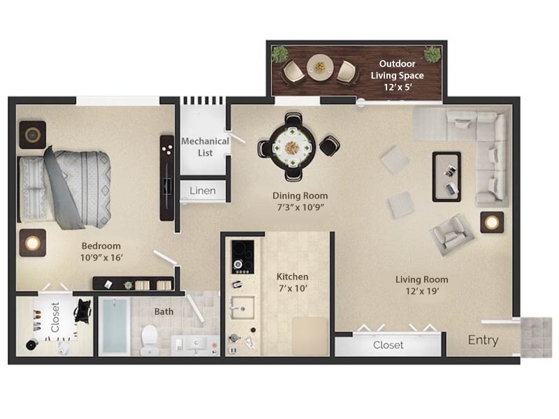 Radwyn Apartments 1 Bedroom Floor Plan Wayne I - 700 square feet