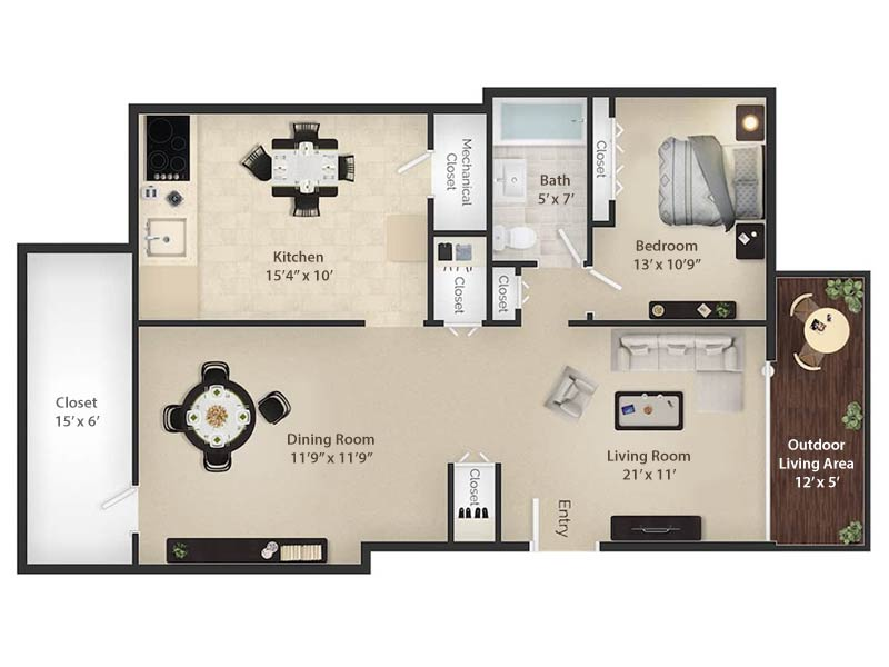 Radwyn Apartments 1 Bedroom Floor Plan Wayne II - 700 square feet