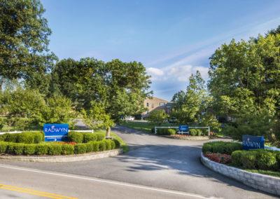 Entrance to Radwyn Apartments in Bryn Mawr, PA