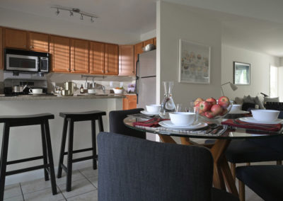 Dining room and breakfast bar in spacious apartment at Radwyn apartments in Bryn Mawr, PA
